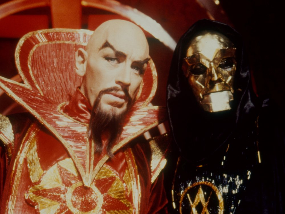 Peter Wyngarde (right) as General Klytus with Max von Sydow in Flash Gordon (1980)