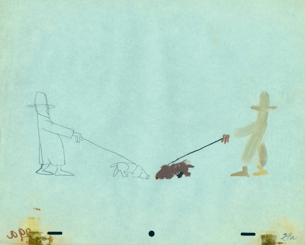 Combined view of the original animation drawing and the painted cel from The Flying Man (1962)