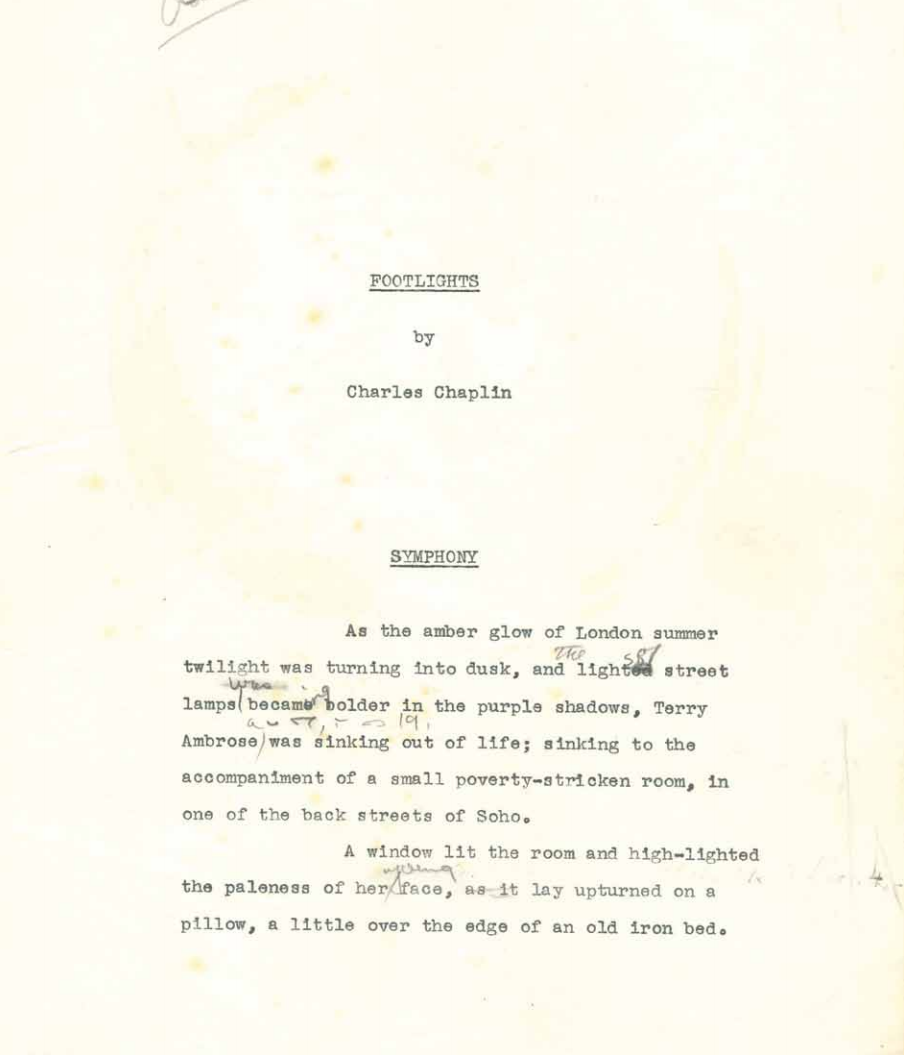 Opening page of an early draft of Footlights with revisions by  Chaplin and (in shorthand) by Lee Cobin