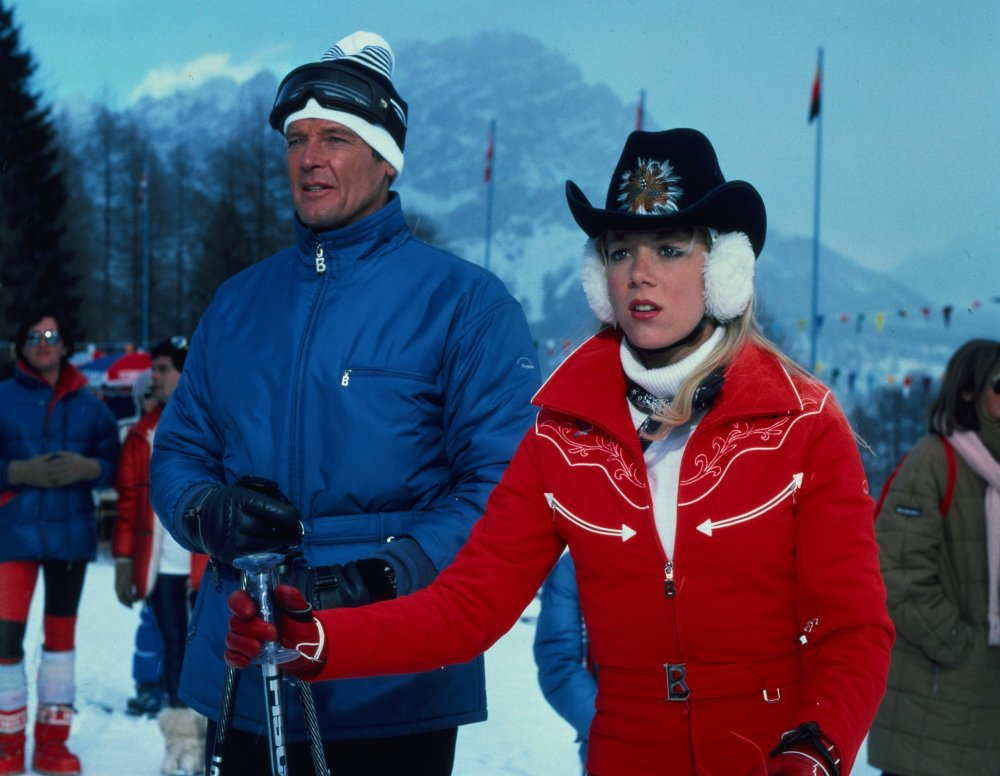 A Bond film can usually be relied upon for some ski-slope chic, though in For Your Eyes Only (1981) Bond himself (Roger Moore) is thoroughly upstaged by ice-skating prodigy Bibi Dahl (Lynn-Holly Johnson), who looks ready for a winter rodeo in her western-styled coat, cowboy hat and fluffy ear muffs