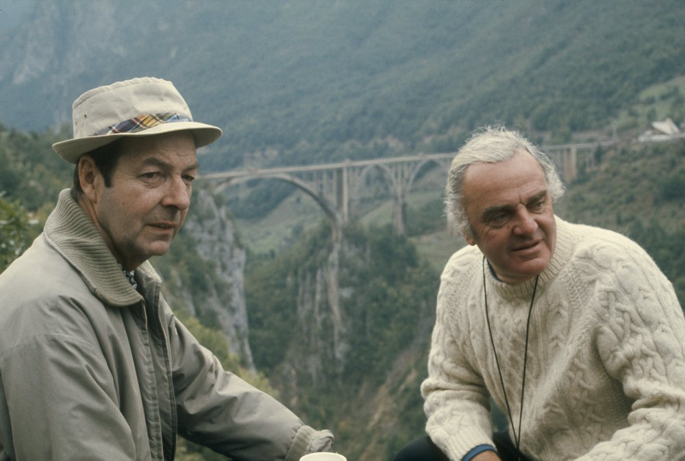 Guy Hamilton (left) on location for Force 10 from Navarone (1978)