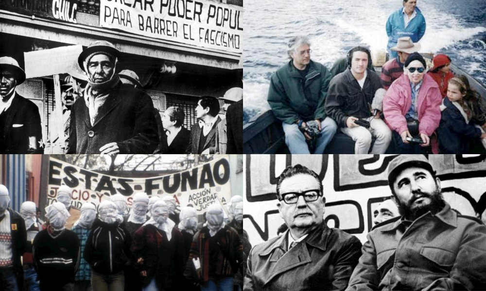 Four films by Patricio Guzmán: clockwise from top left, The Battle of Chile (1977-80), Robinson Crusoe Island (1999), Salvador Allende (2004) and The Pinochet Case (2001)