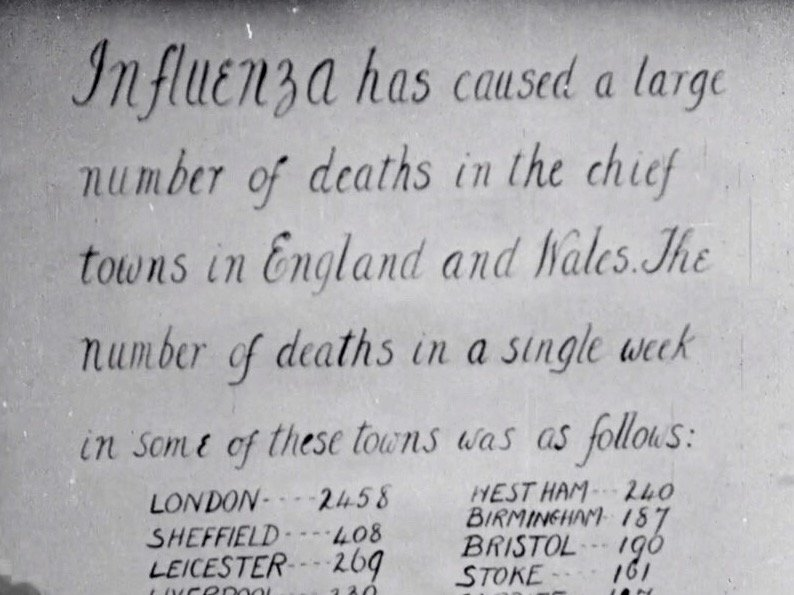 A title card shows how Dr Wise illustrates the death toll in England's cities and towns