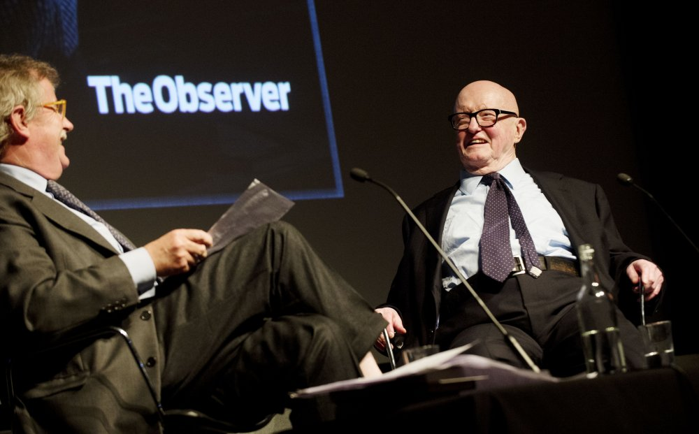 Philip French receiving his BFI Fellowship in 2013, on stage with Sir Christopher Frayling