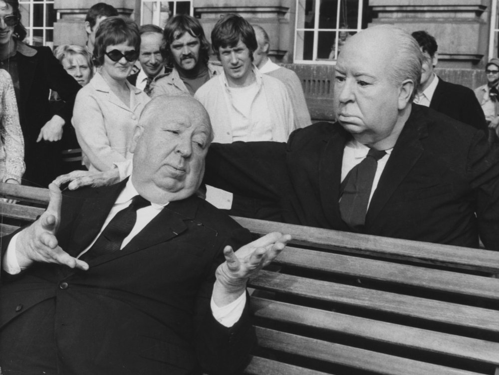 Alfred Hitchcock posing in a publicity shot for Frenzy (1972)