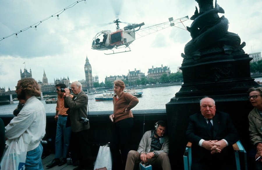 Alfred Hitchcock on location on the South Bank for Frenzy (1972)
