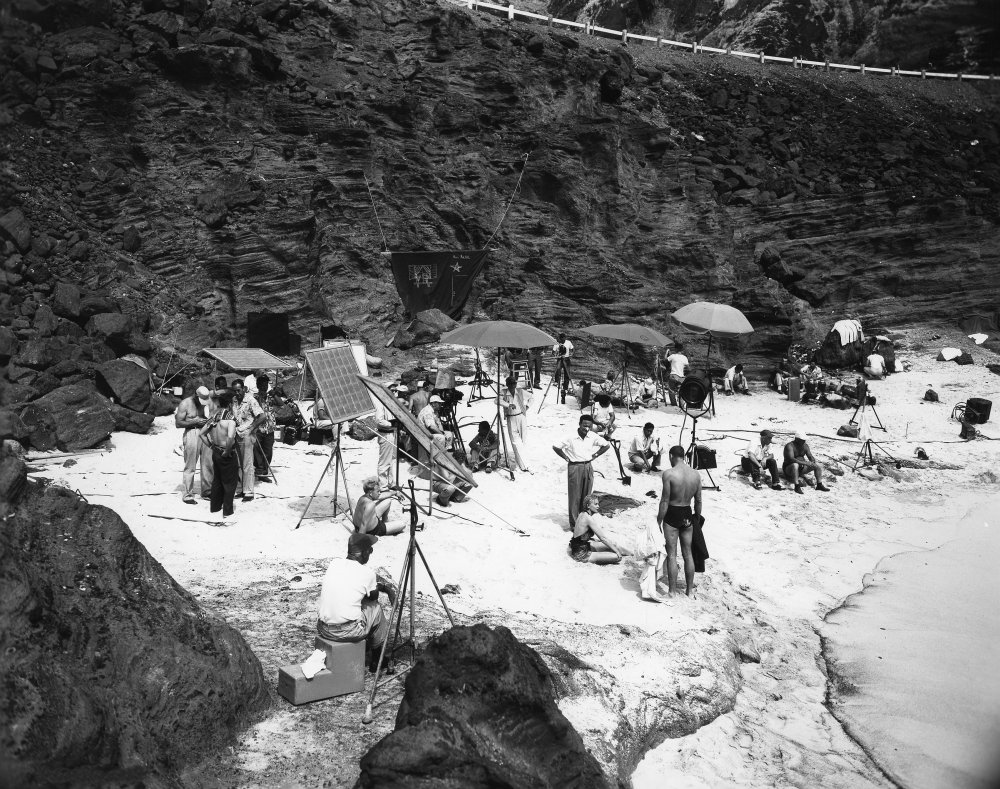 The crew set up the famous beach scene