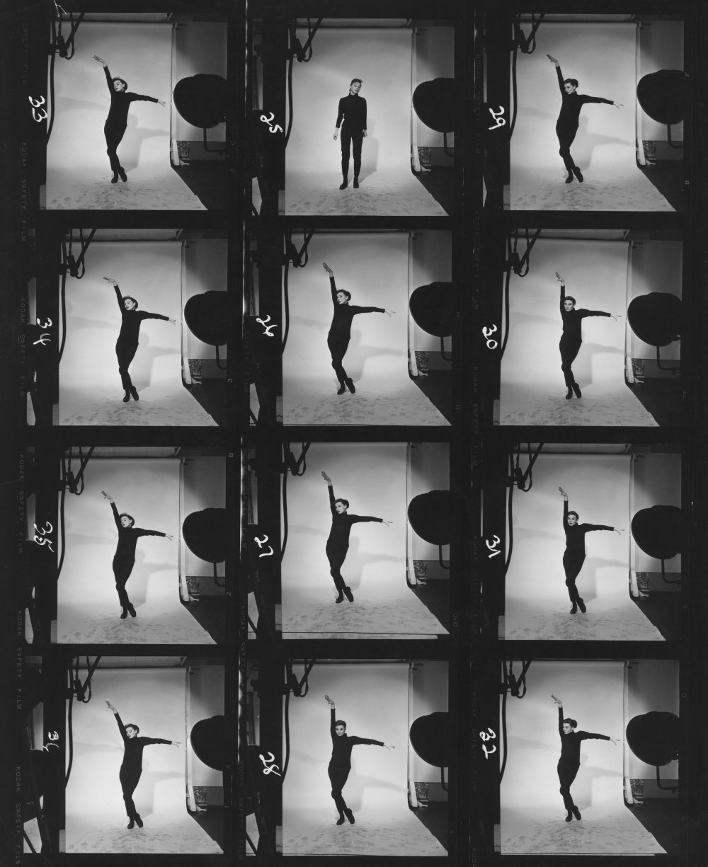 Contact print showing Hepburn dancing. Hepburn plays a Greenwich Village bookshop clerk who is discovered by style photographer Dick Avery (Fred Astaire) and whisked off to Paris on a fashion shoot