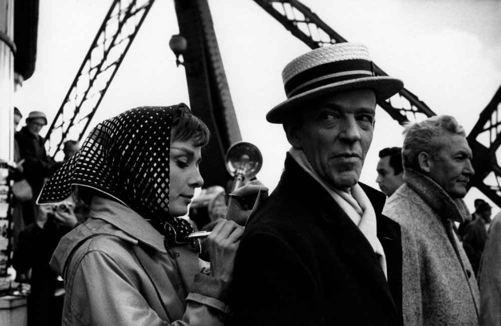 Hepburn and Astaire on location at the Eiffel Tower