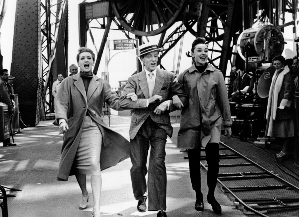 Kay Thompson (who plays magazine editor Maggie Prescott), Astaire and Hepburn dancing underneath the Eiffel Tower
