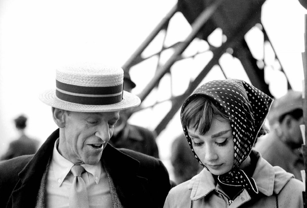 Fred Astaire and Audrey Hepburn at the Eiffel Tower, where the climax to the song 'Bonjour Paris' was filmed