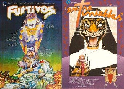 Zulueta's posters for Poachers (left) and Dark Habits