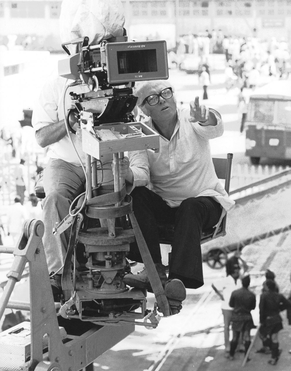 Richard Attenborough on the set of Gandhi (1982)