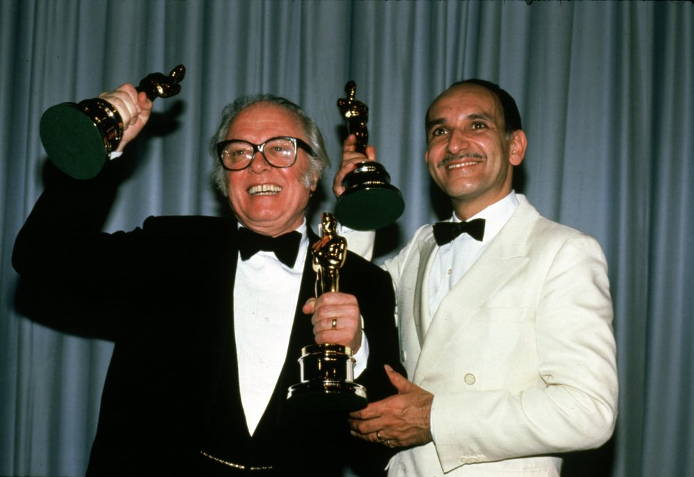 Richard Attenborough and Ben Kingsley with their Oscars for Gandhi (1982)