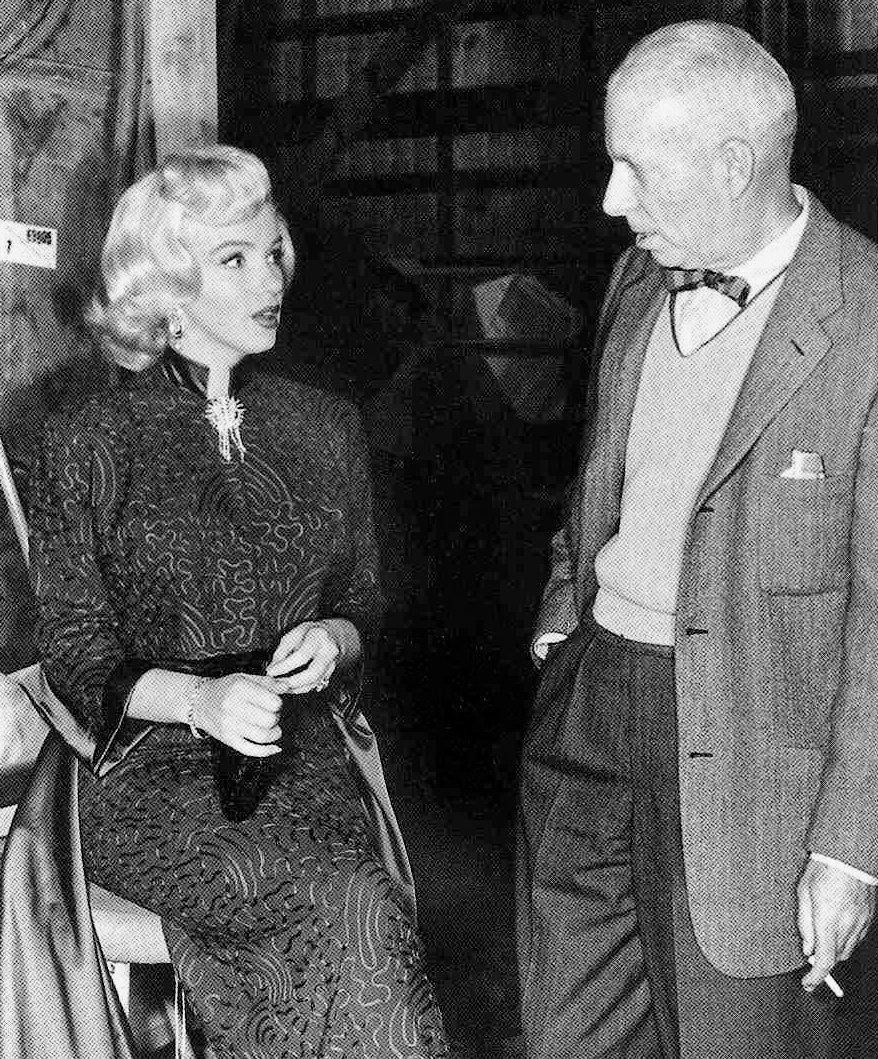 Marilyn Monroe with Howard Hawks on the set of Gentlemen Prefer Blondes (1953)