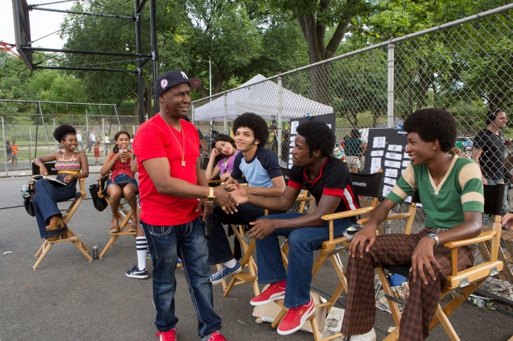 Grandmaster Flash meets the young cast (left to right): Stefanée Martin, Herizen F. Guardiola, Shyrley Rodriguez, Justice Smith, Shameik Moorea and Skylan Brooks