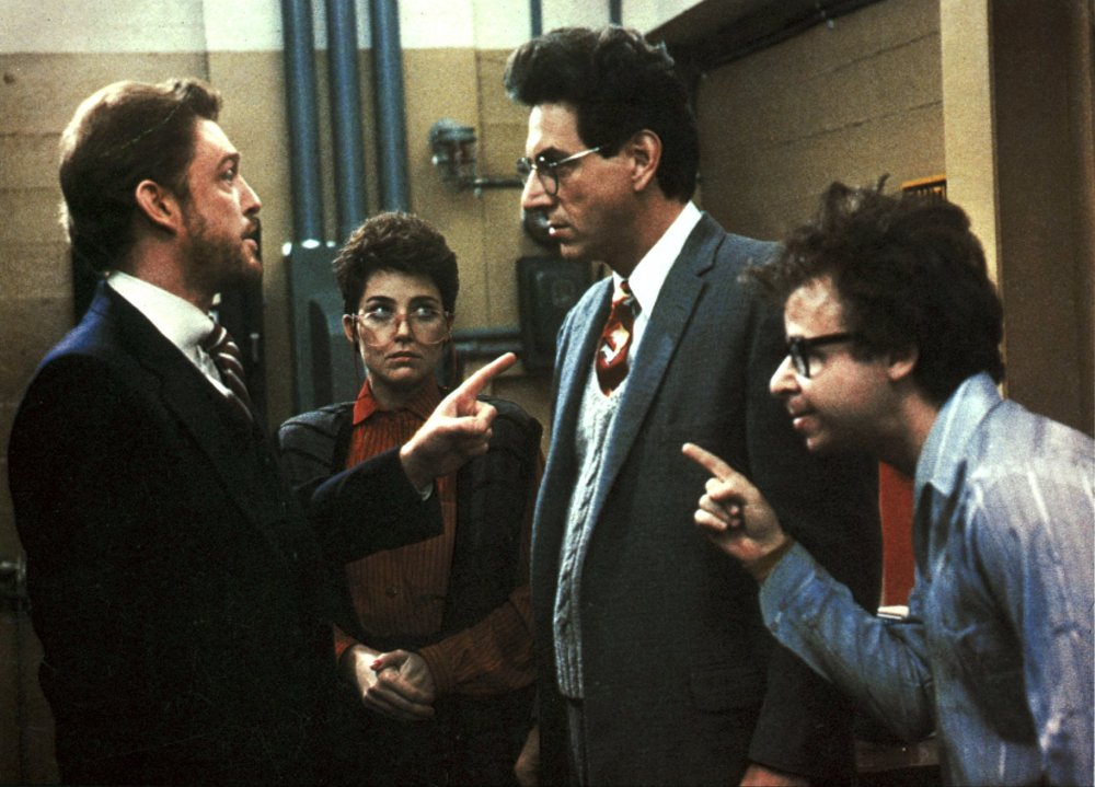 Straight man: Ramis, centre, as Egon Spengler in Ghostbusters (1984), which he co-wrote