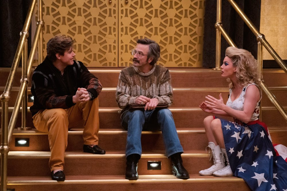 Chris Lowell as Bash Howard, Marc Maron as Sam and Betty Gilpin as Debbie in GLOW season 3