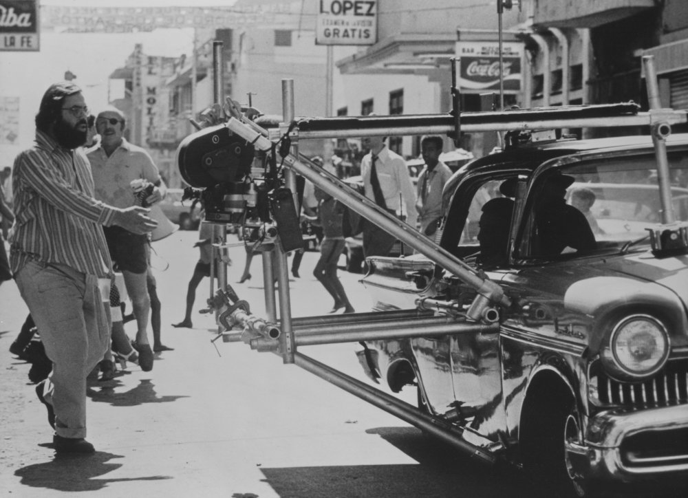 Coppola in production on a 1950s street scene for The Godfather Part II