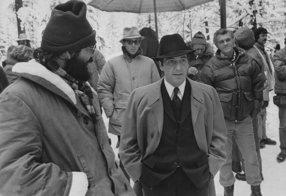 Coppola and Pacino feel the cold of Lake Tahoe, Nevada, where Michael Corleone keeps a lakeside compound