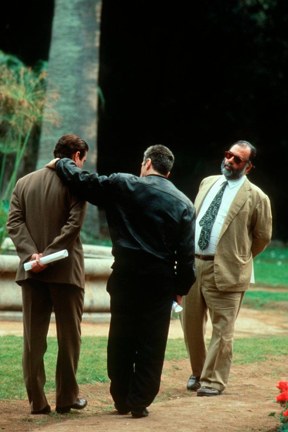 Al Pacino, Andy Garcia and Francis Ford Coppola on location for The Godfather Part III (1990)