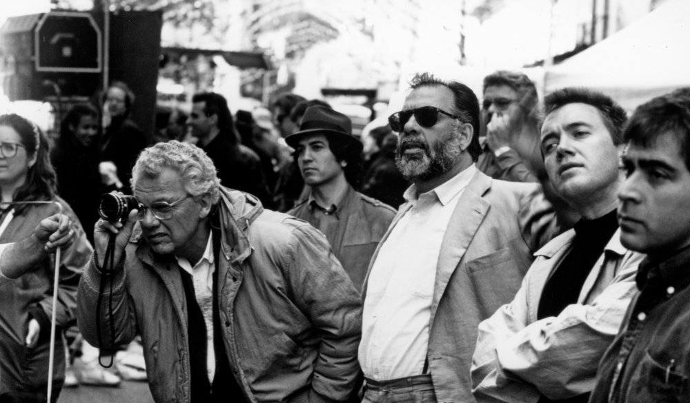 Cinematographer Gordon Willis and Francis Ford Coppola during production of The Godfather Part III (1990)