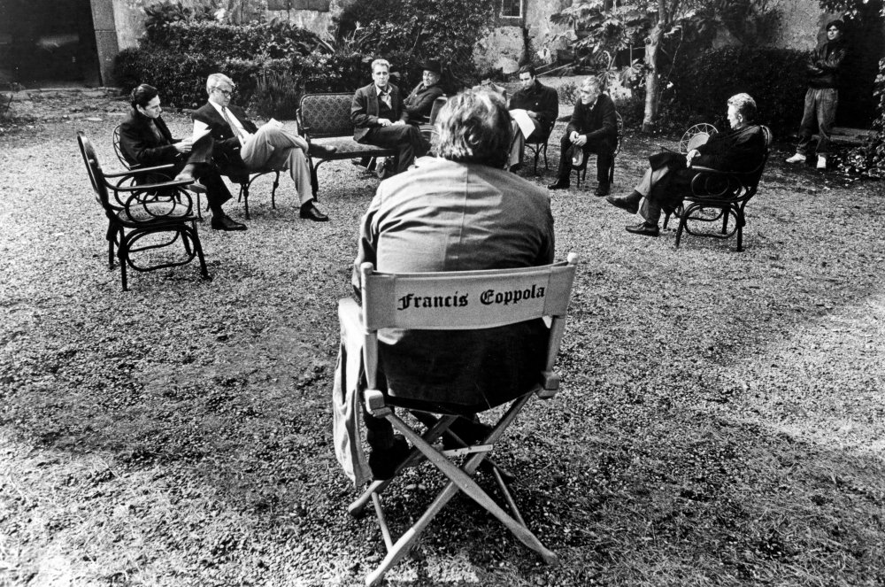 In the director's chair: Francis Ford Coppola oversees a script readthrough for The Godfather Part III (1990)