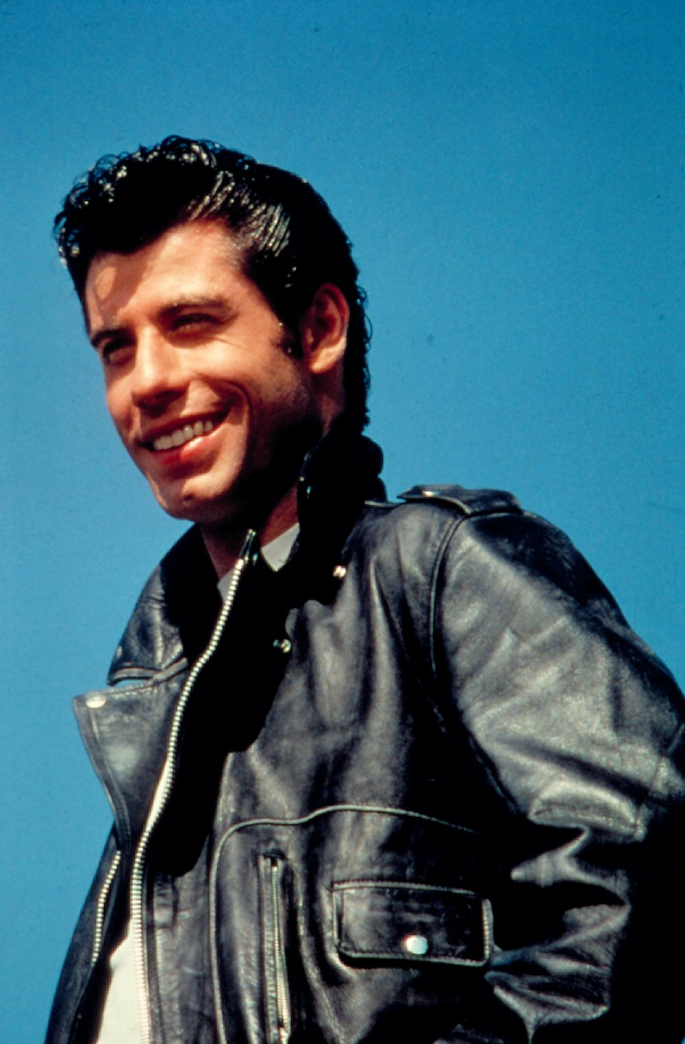 Travolta as greaser Danny Zuko in Grease (1978)