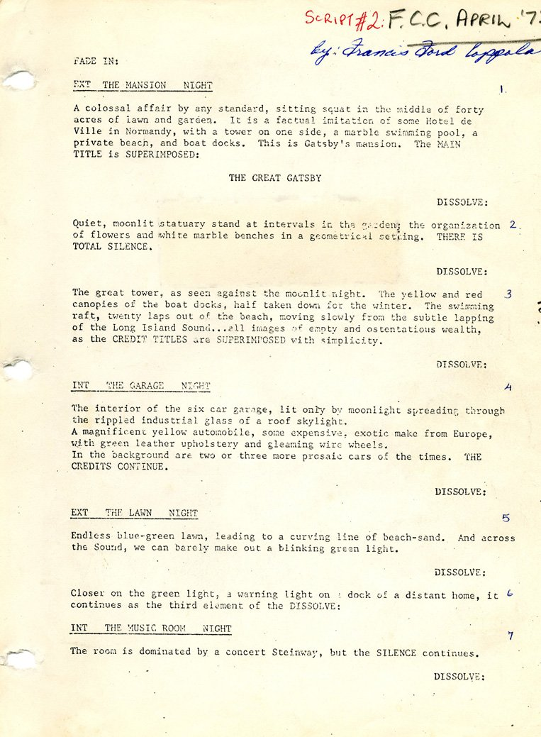 Francis Ford Coppola's first revised screenplay, April 1972