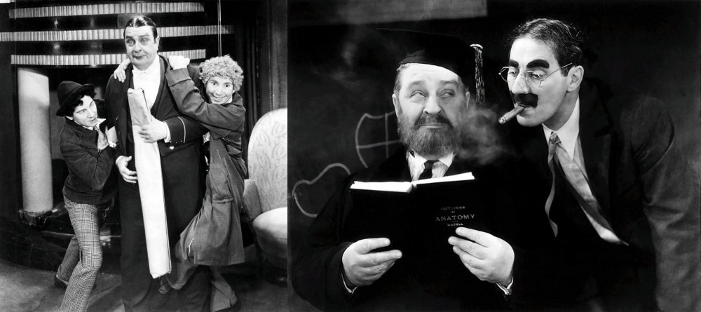 Robert Greig as Hives the butlet in Animal Crackers (1930, left) and the biology professor in Horse Feathers (1932, right)