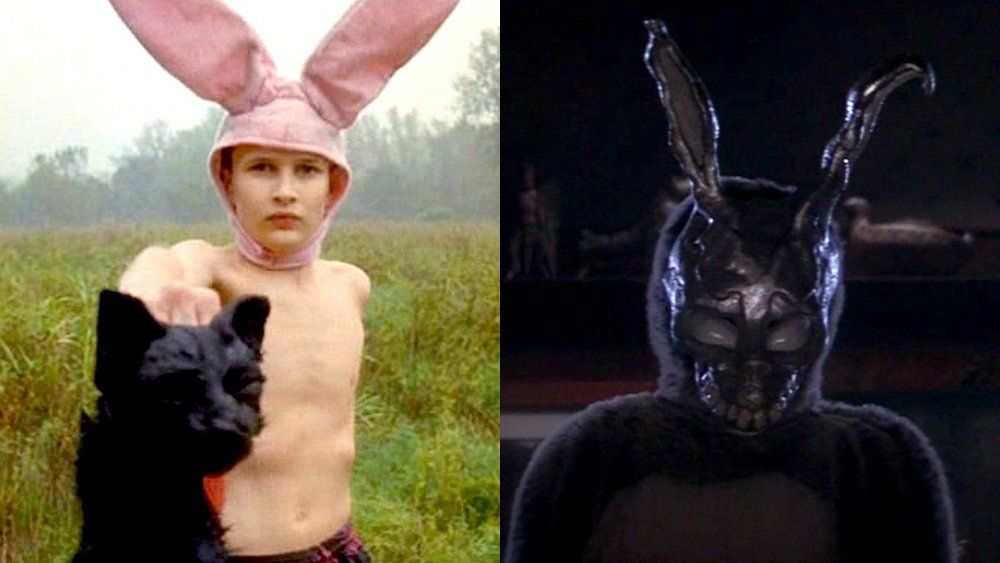 Jacob Sewell as 'Bunny Boy' in Gummo, left; Frank the rabbit in Donnie Darko, right
