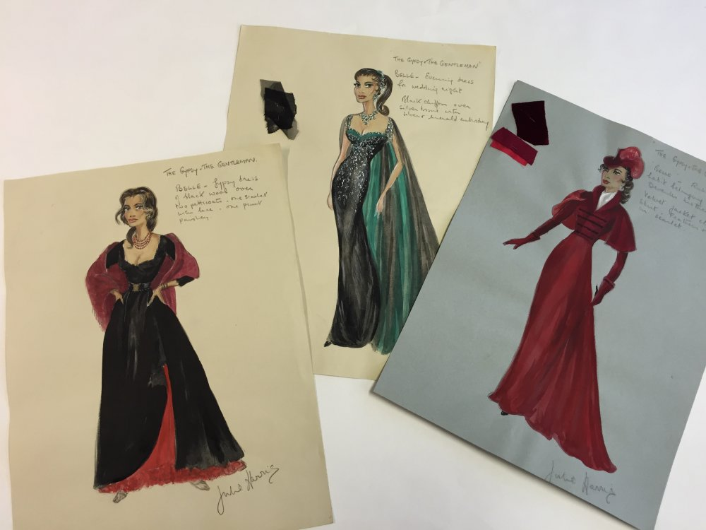 The Gypsy and the Gentleman (1957): designs for Belle (Melina Mercouri) by Julie Harris (1921–2015)