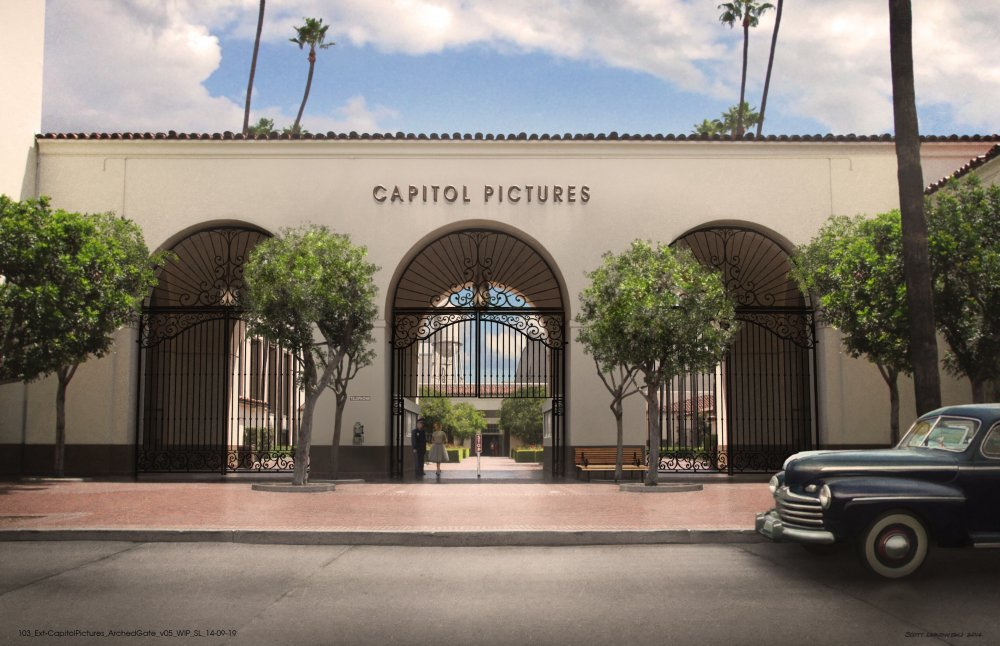 Jess Gonchor's design for the exterior of the Capitol Pictures movie studio
