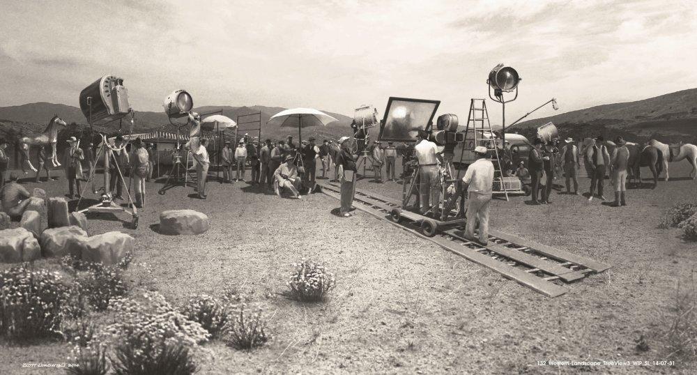 Design for a film set of a western landscape