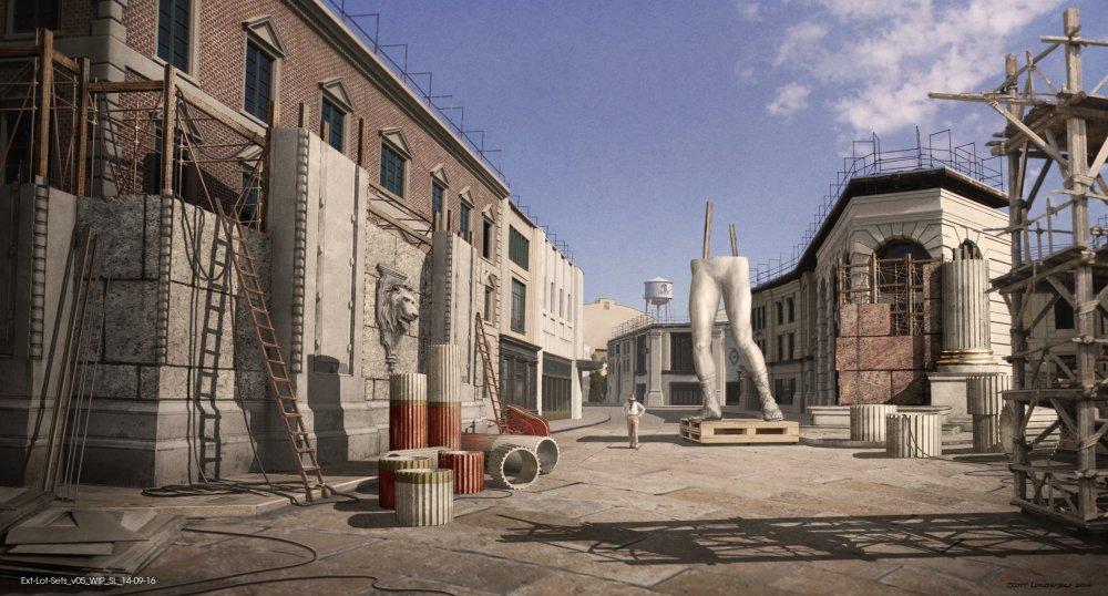 Design showing the studio backlot, including giant Roman statue legs