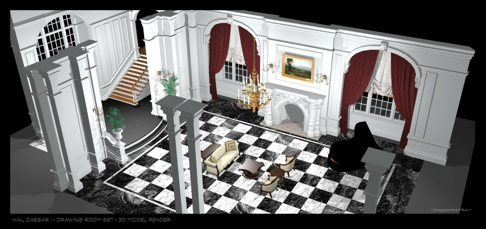 3D model and sketch for the drawing-room set for the latest production by English director Laurence Laurentz (Ralph Fiennes) and starring Hobie Doyle (Alden Ehrenreich)