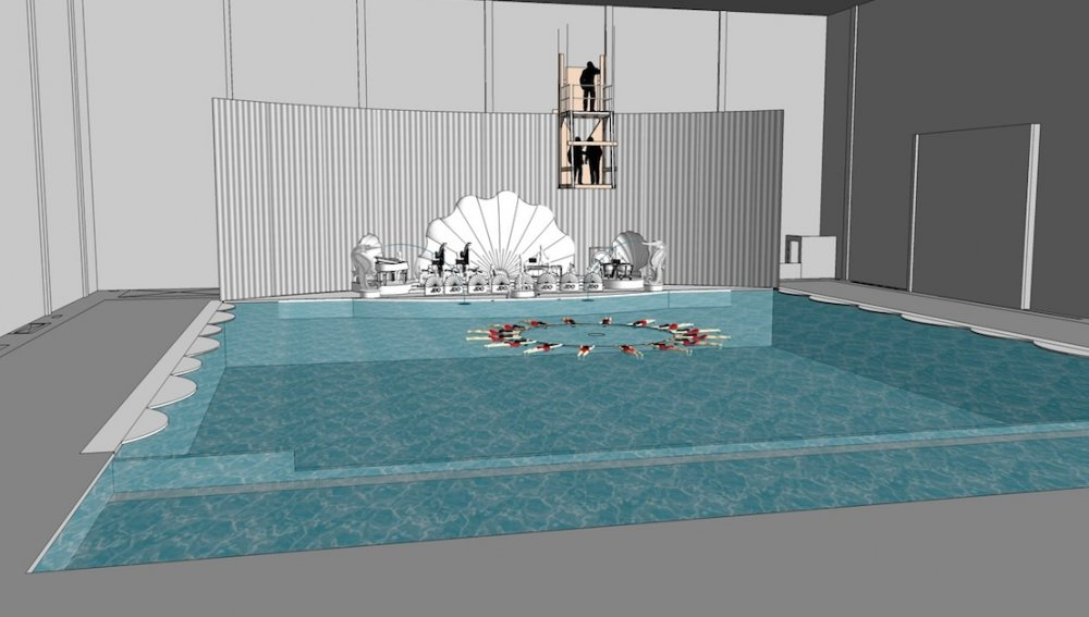 Designs for the set for an Esther Williams-style swimming musical starring DeeAnna Moran (Scarlett Johansson)