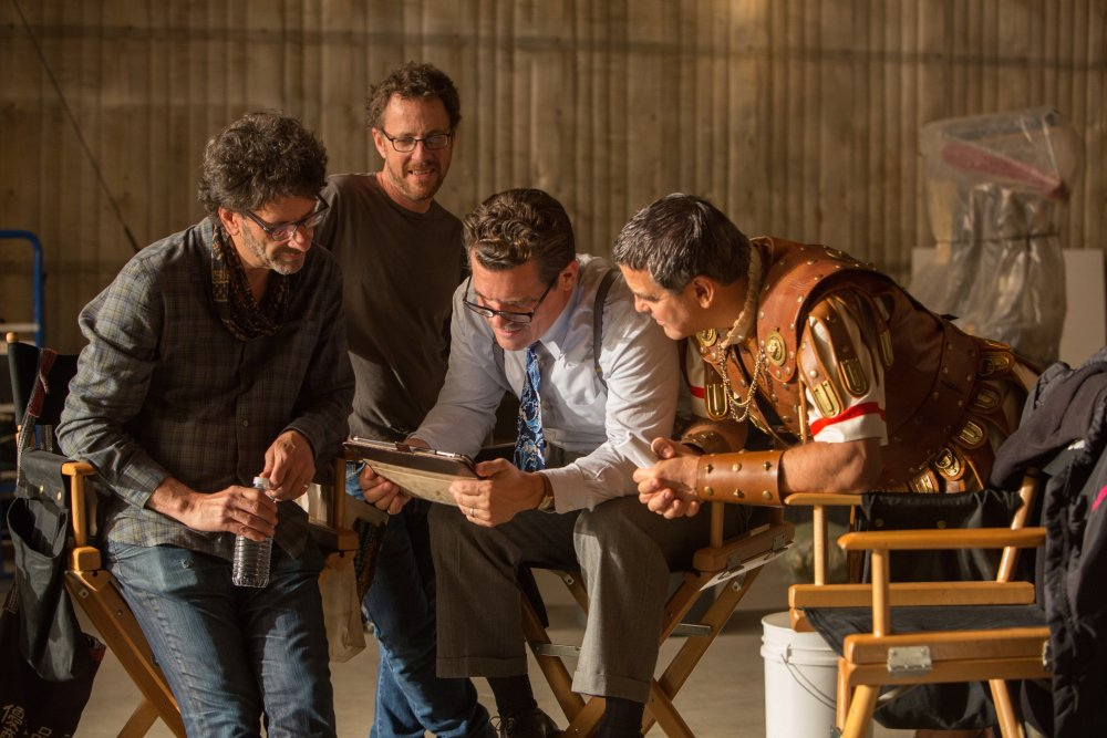 Joel and Ethan Coen with Josh Brolin and George Clooney in production on Hail, Caesar! (2016)