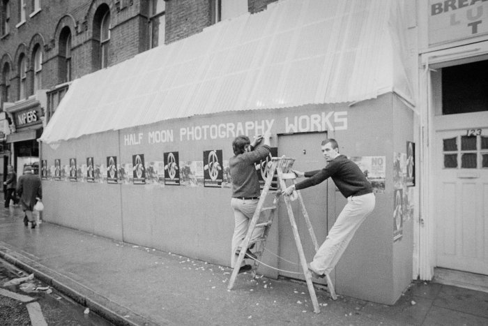 Half Moon Photography Workshop preparing for the exhibition No Nuclear Weapons by Peter Kennard & Mike Abrahams