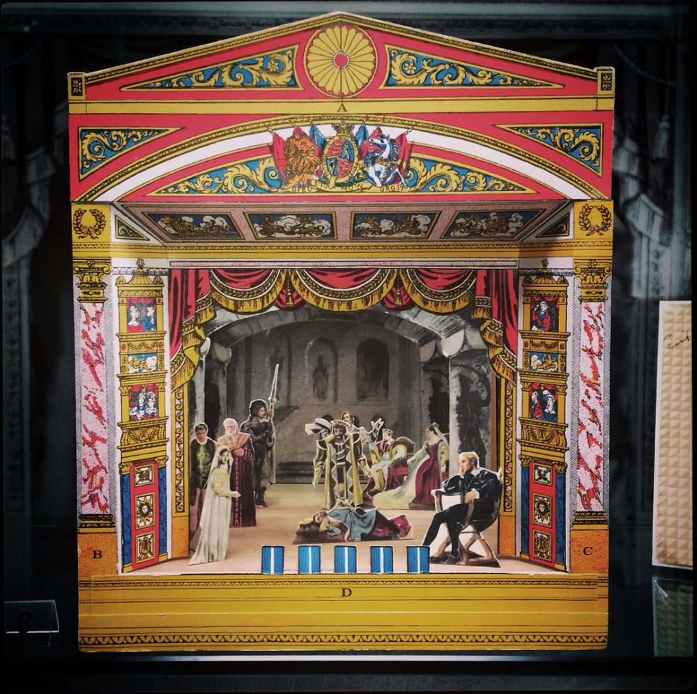 Pollock's toy theatre with backdrops and figures for staging Hamlet