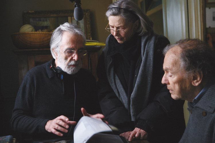 Michael Haneke (left) directing his Amour actors.