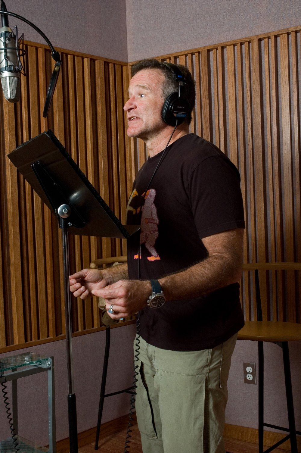 In the sound studio recording voices for the animated comedy Happy Feet (2006)