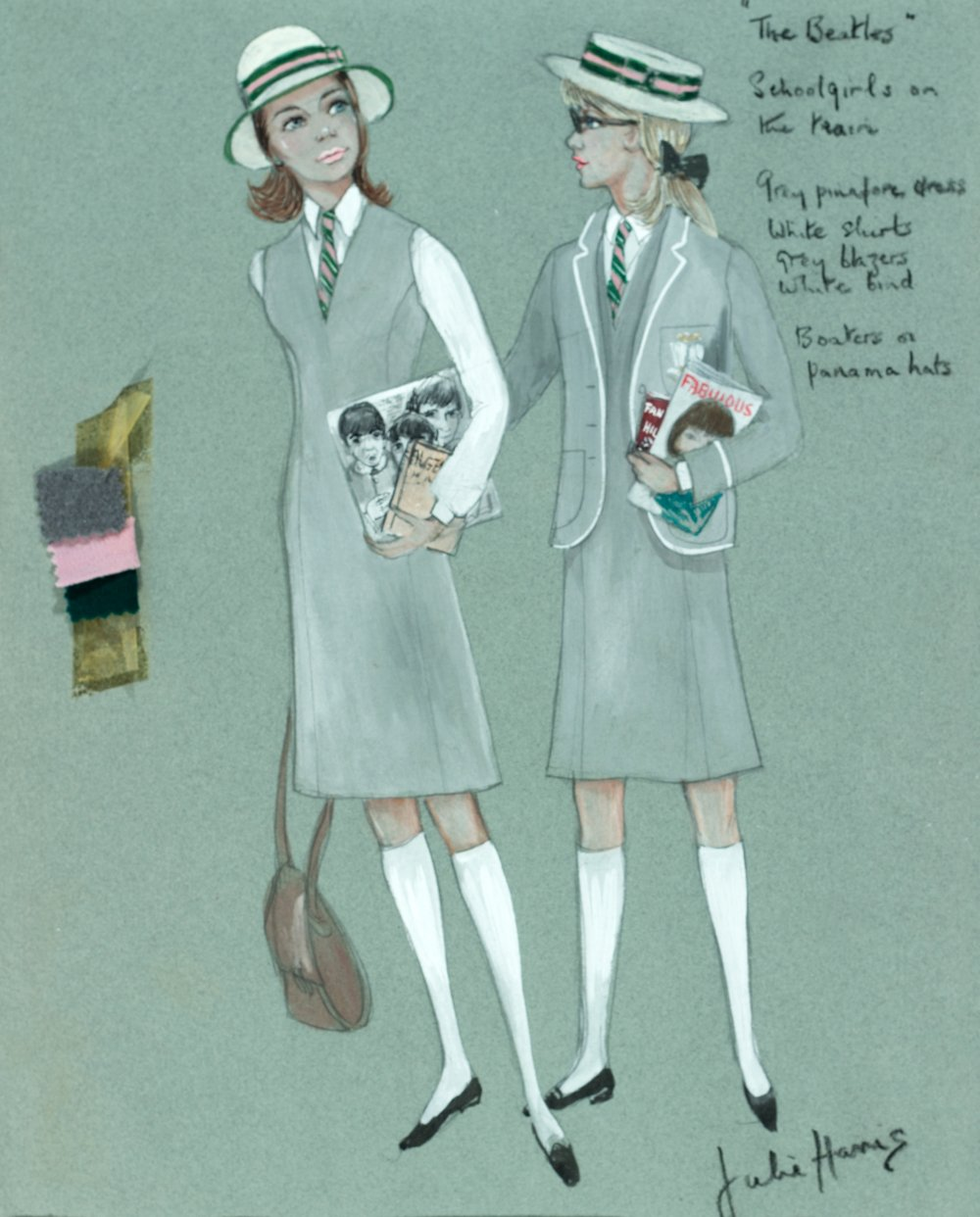 Schoolgirls costume design by Julie Harris, 1964. Julie Harris designed the costumes for A Hard Day's Night, working in conjunction with the Beatles' tailor Dougie Millings. This design by Harris is for the two schoolgirls (Prue Barry and Pattie Boyd) John and Paul encounter and serenade while travelling by train to London. Harris would also design the costumes for Help!