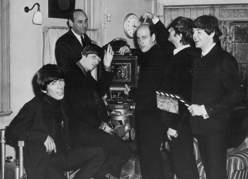 Richard Lester with the Beatles. The camaraderie between director and stars is apparent from this picture. They shared a similar sense of humour and mutual respect