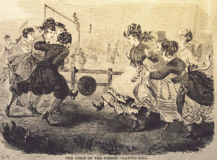 """""""The Girls of the Period - Playing Ball"""", Harper's Bazaar, 1869 (sourced from The History of Women's Football)"""