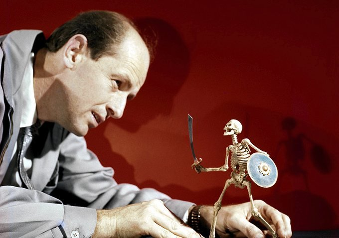 Ray Harryhausen with one of his stop-motion puppet skeletons from Jason and the Argonauts (1963)