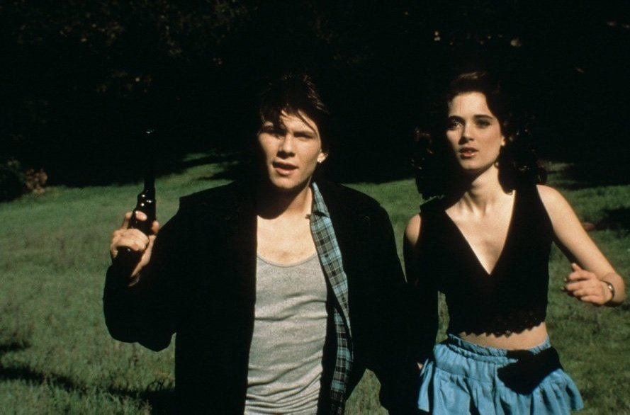 Christian Slater as Jason Dean and Winona Ryder as Veronica Sawyer in Heathers