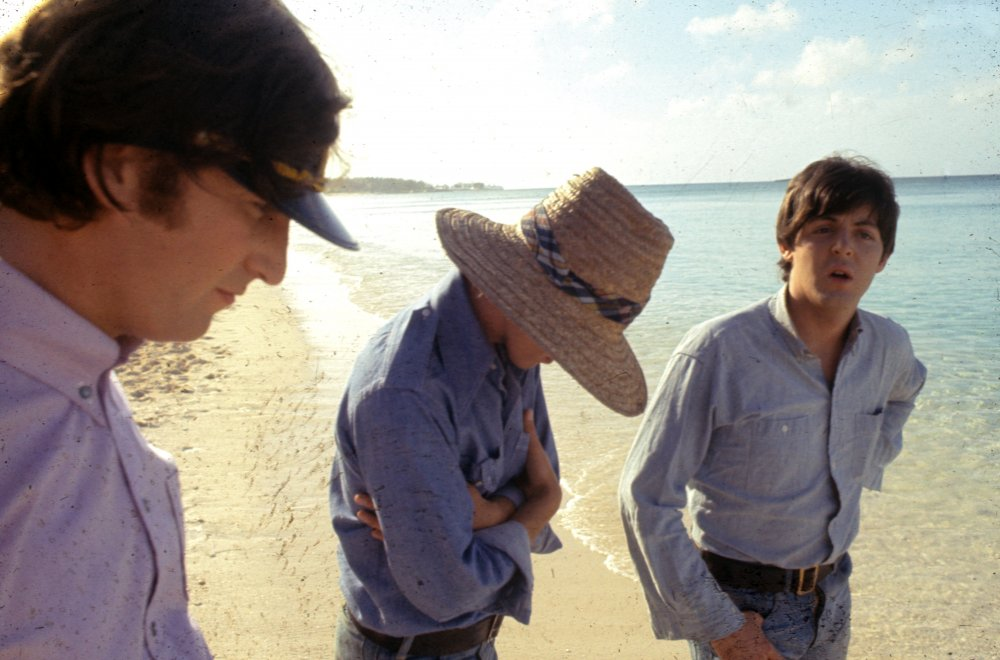 The Beatles on the beach. Though the Caribbean scenes come at the end of the film, they were the first to be shot. The band decamped with the crew to the Bahamas on 23 February 1965, filming on New Providence Island and Paradise Island