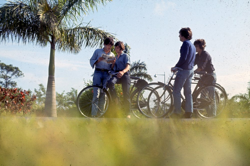 Filming the bike-riding scene on the Interfield Road, near to Nassau International Airport on New Providence Island