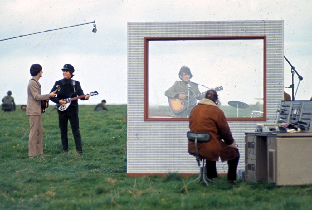 With the Caribbean and Austrian scenes in the can, The Beatles travelled closer to home, to the Salisbury Plain, to film the famous sequence in which the band play George's song 'I Need You'